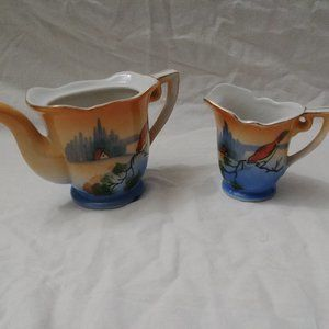 VTG Hand Painted Teapot & Creamer Set No Lid
